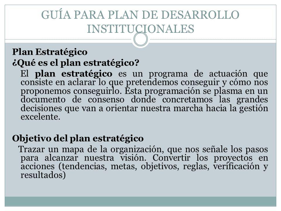 GUÍA PARA PLAN DE DESARROLLO INSTITUCIONALES Plan Estratégico ¿Qué es el plan estratégico? El plan estratégico es un programa de actuación que consist