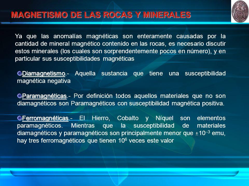 MAGNETISMO DE LAS ROCAS Y MINERALES Ya que las anomalías magnéticas son enteramente causadas por la cantidad de mineral magnético contenido en las rocas, es necesario discutir estos minerales (los cuales son sorprendentemente pocos en número), y en particular sus susceptibilidades magnéticas Diamagnetismo Diamagnetismo.- Aquella sustancia que tiene una susceptibilidad magnética negativa Paramagnéticas Paramagnéticas.- Por definición todos aquellos materiales que no son diamagnéticos son Paramagnéticos con susceptibilidad magnética positiva.