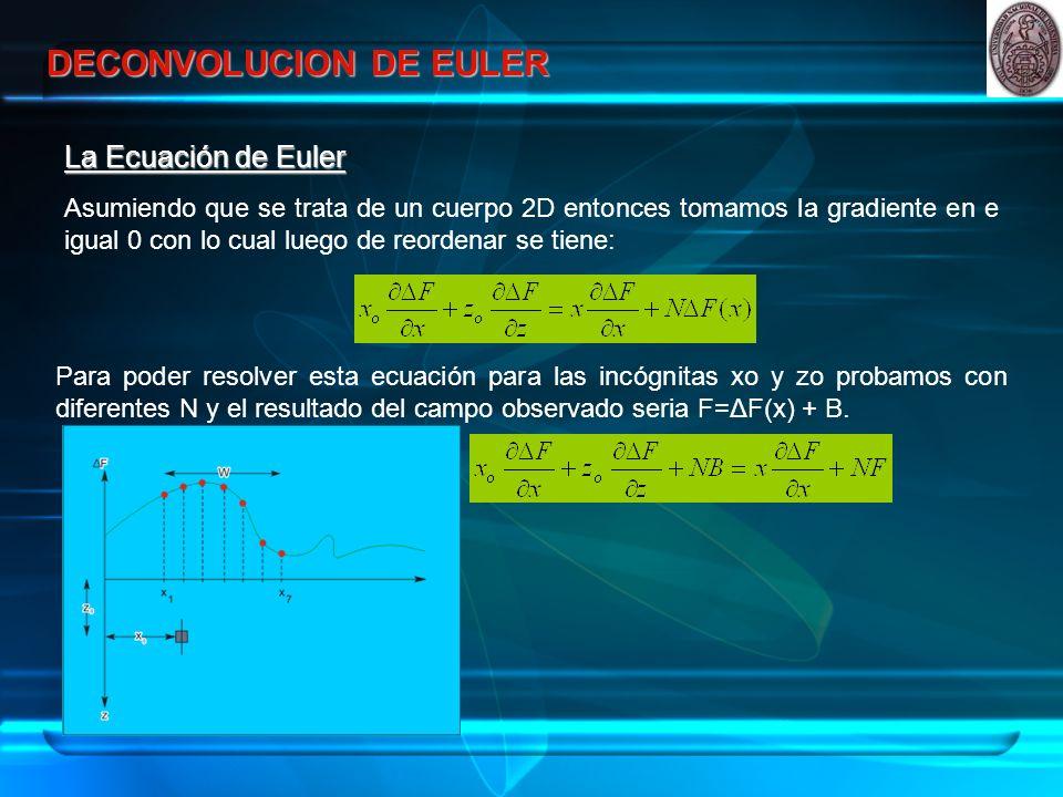DECONVOLUCION DE EULER La Ecuación de Euler Asumiendo que se trata de un cuerpo 2D entonces tomamos la gradiente en e igual 0 con lo cual luego de reordenar se tiene: Para poder resolver esta ecuación para las incógnitas xo y zo probamos con diferentes N y el resultado del campo observado seria F=ΔF(x) + B.
