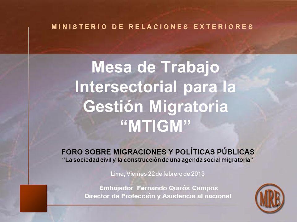 M I N I S T E R I O D E R E L A C I O N E S E X T E R I O R E S Mesa de Trabajo Intersectorial para la Gestión Migratoria MTIGM 1 FORO SOBRE MIGRACION