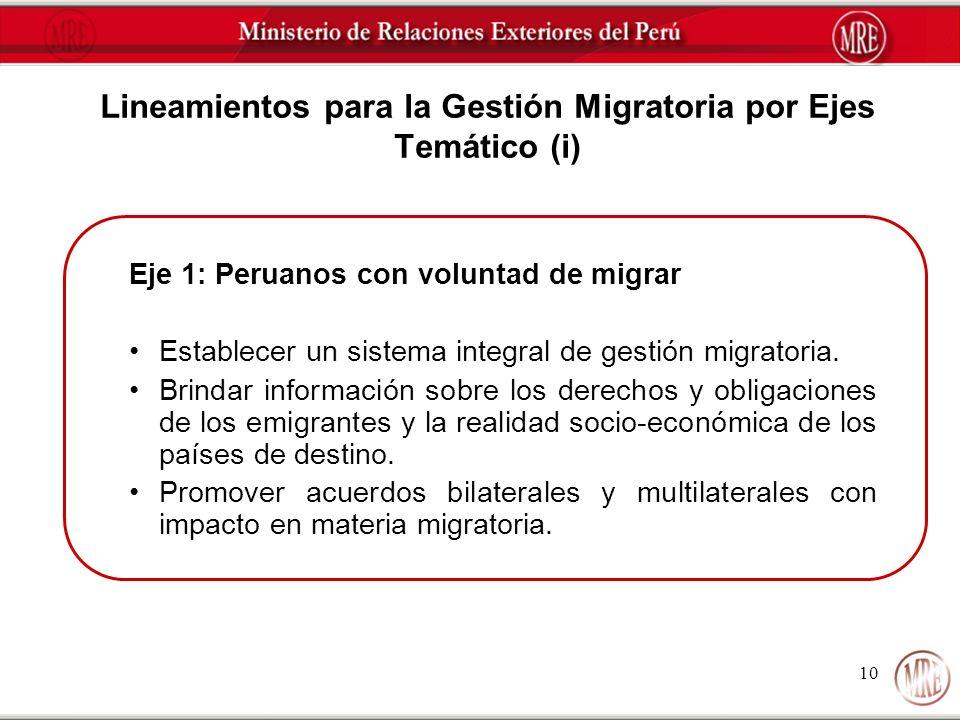 10 Lineamientos para la Gestión Migratoria por Ejes Temático (i) Eje 1: Peruanos con voluntad de migrar Establecer un sistema integral de gestión migr