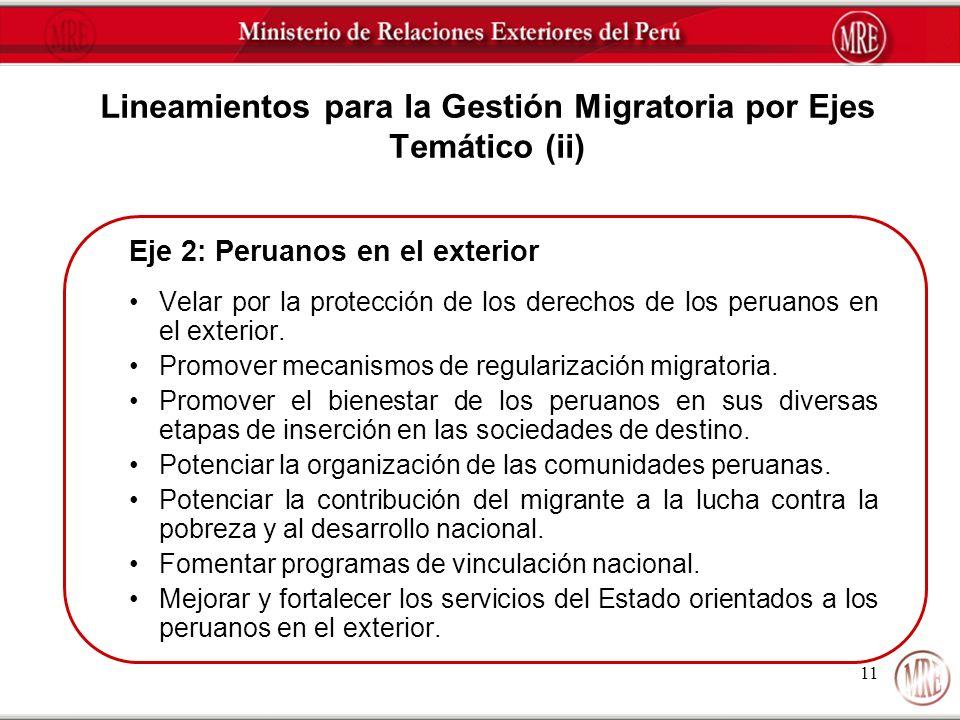 11 Lineamientos para la Gestión Migratoria por Ejes Temático (ii) Eje 2: Peruanos en el exterior Velar por la protección de los derechos de los peruan