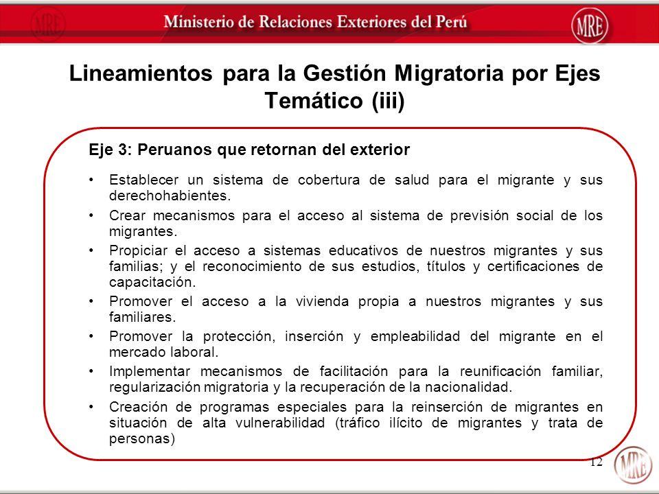 Eje 3: Peruanos que retornan del exterior Establecer un sistema de cobertura de salud para el migrante y sus derechohabientes. Crear mecanismos para e