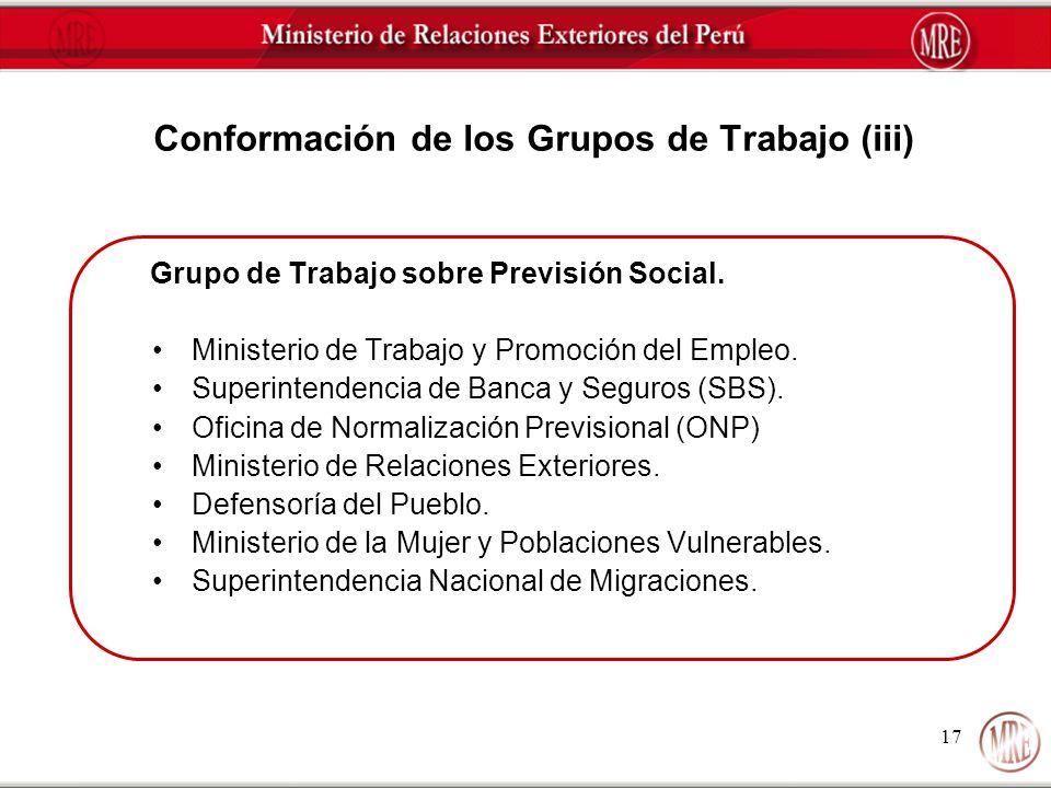 17 Conformación de los Grupos de Trabajo (iii) Grupo de Trabajo sobre Previsión Social. Ministerio de Trabajo y Promoción del Empleo. Superintendencia