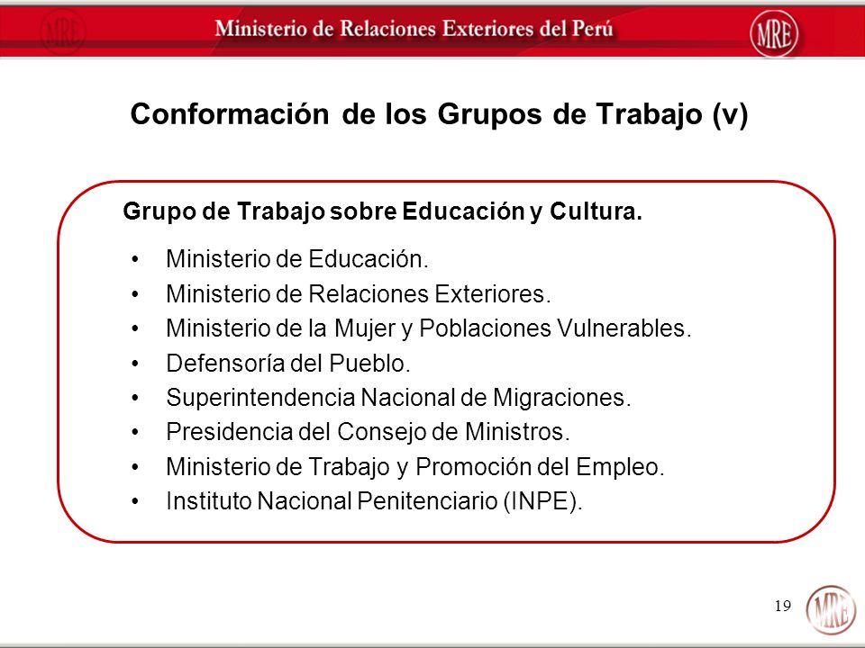 19 Conformación de los Grupos de Trabajo (v) Grupo de Trabajo sobre Educación y Cultura. Ministerio de Educación. Ministerio de Relaciones Exteriores.
