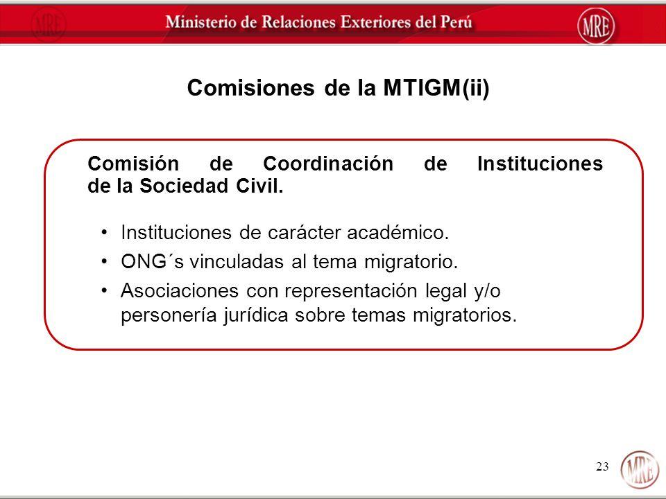 23 Comisiones de la MTIGM(ii) Comisión de Coordinación de Instituciones de la Sociedad Civil. Instituciones de carácter académico. ONG´s vinculadas al