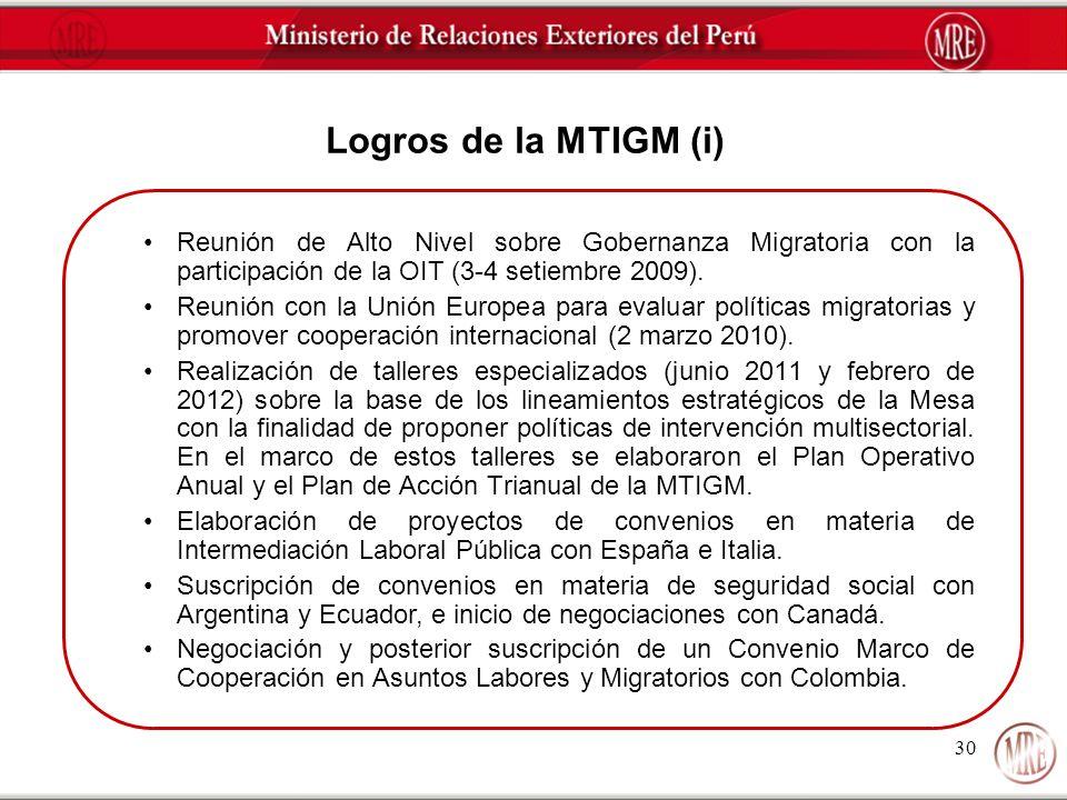 30 Logros de la MTIGM (i) Reunión de Alto Nivel sobre Gobernanza Migratoria con la participación de la OIT (3-4 setiembre 2009). Reunión con la Unión