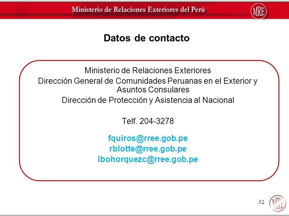 32 Datos de contacto Ministerio de Relaciones Exteriores Dirección General de Comunidades Peruanas en el Exterior y Asuntos Consulares Dirección de Pr