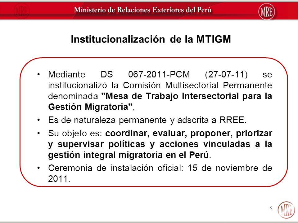 5 Institucionalización de la MTIGM Mediante DS 067-2011-PCM (27-07-11) se institucionalizó la Comisión Multisectorial Permanente denominada