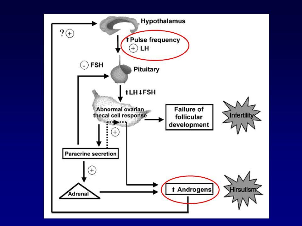 Manifestaciones Metabólicas Resistencia insulina –60 a 75% SOP –En Tejido adiposo y muscular –Fosforilación en residuos serina –Agravada por obesidad central