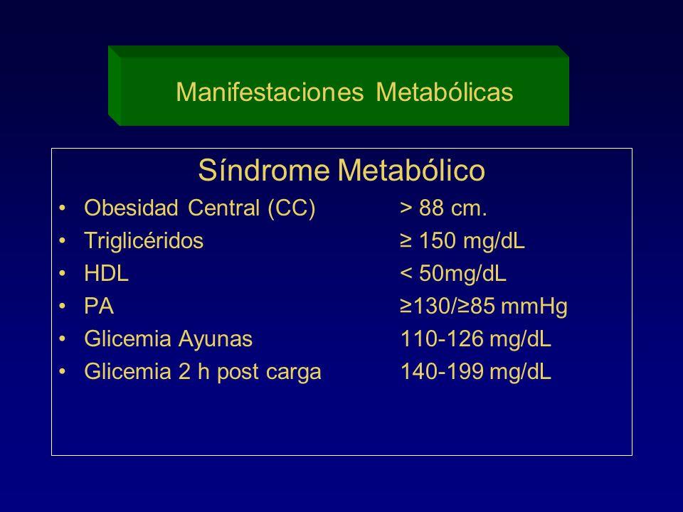 Síndrome Metabólico Obesidad Central (CC)> 88 cm. Triglicéridos 150 mg/dL HDL< 50mg/dL PA130/85 mmHg Glicemia Ayunas110-126 mg/dL Glicemia 2 h post ca