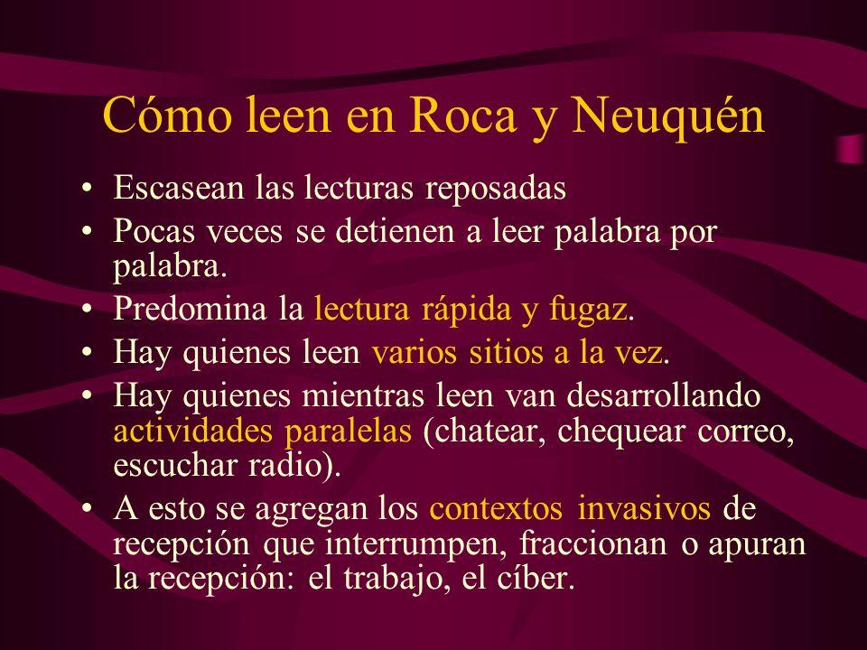Cómo leen en Roca y Neuquén Escasean las lecturas reposadas Pocas veces se detienen a leer palabra por palabra. Predomina la lectura rápida y fugaz. H