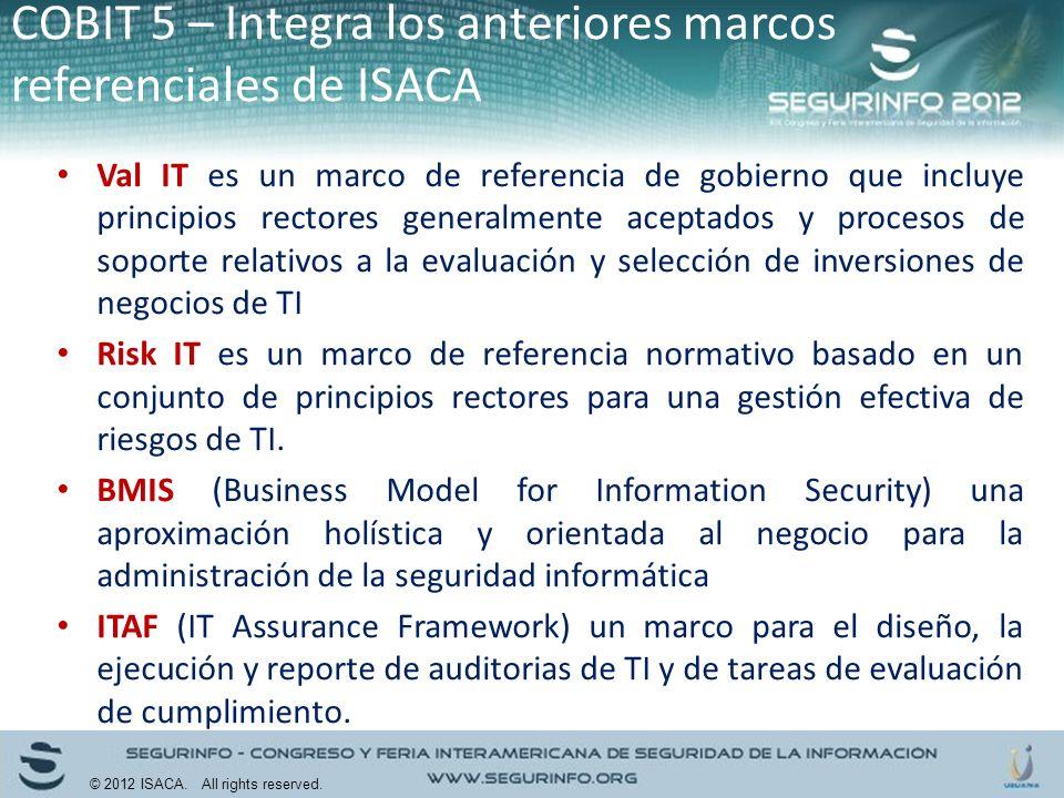 Val IT es un marco de referencia de gobierno que incluye principios rectores generalmente aceptados y procesos de soporte relativos a la evaluación y