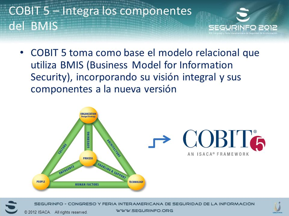 COBIT 5 toma como base el modelo relacional que utiliza BMIS (Business Model for Information Security), incorporando su visión integral y sus componen