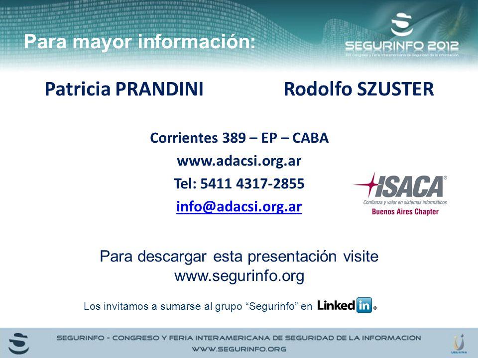 Para mayor información: Patricia PRANDINIRodolfo SZUSTER Corrientes 389 – EP – CABA www.adacsi.org.ar Tel: 5411 4317-2855 info@adacsi.org.ar Para desc