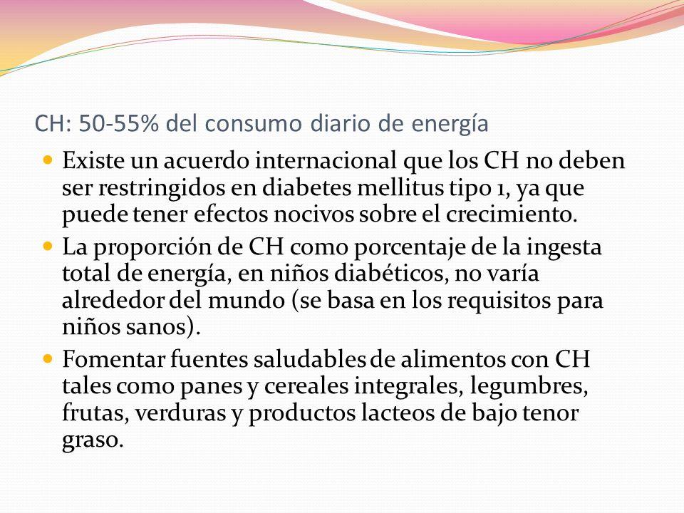 CH: 50-55% del consumo diario de energía Existe un acuerdo internacional que los CH no deben ser restringidos en diabetes mellitus tipo 1, ya que pued
