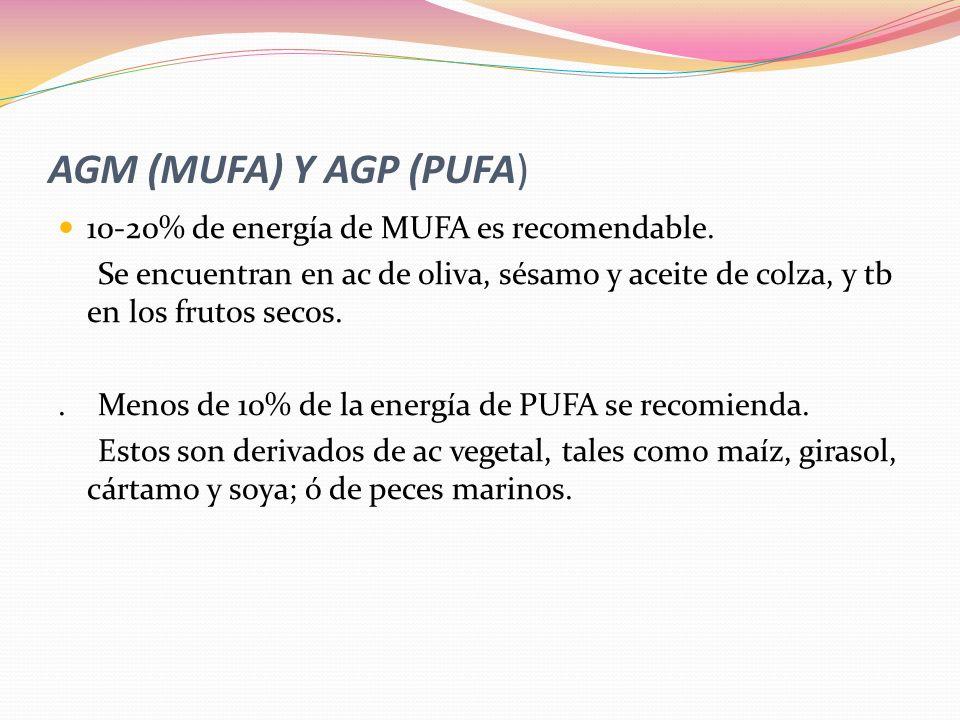 AGM (MUFA) Y AGP (PUFA) 10-20% de energía de MUFA es recomendable. Se encuentran en ac de oliva, sésamo y aceite de colza, y tb en los frutos secos..