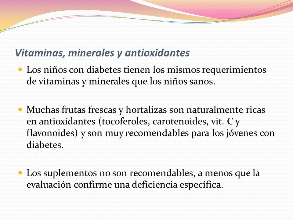 Vitaminas, minerales y antioxidantes Los niños con diabetes tienen los mismos requerimientos de vitaminas y minerales que los niños sanos. Muchas frut