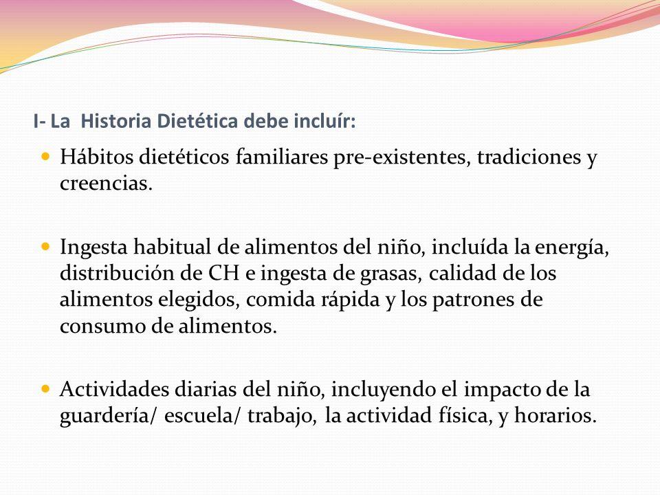 I- La Historia Dietética debe incluír: Hábitos dietéticos familiares pre-existentes, tradiciones y creencias. Ingesta habitual de alimentos del niño,