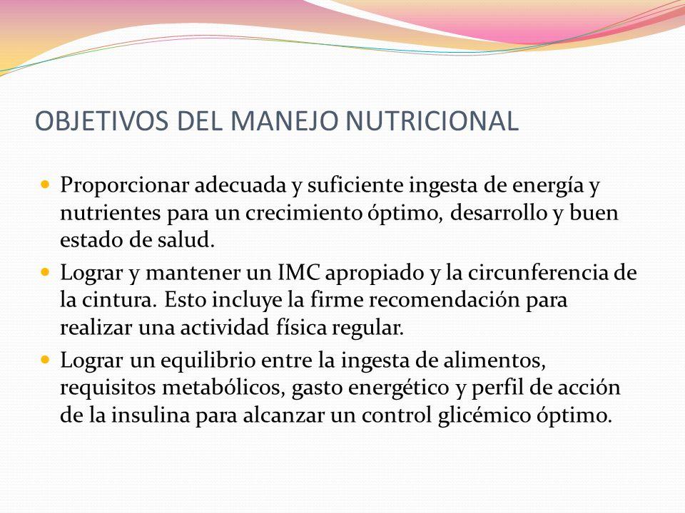 OBJETIVOS DEL MANEJO NUTRICIONAL Prevenir y tratar las complicaciones agudas de la diabetes como la hipoglucemia, crisis de hiperglucemia, problemas relacionados al ejercicio.