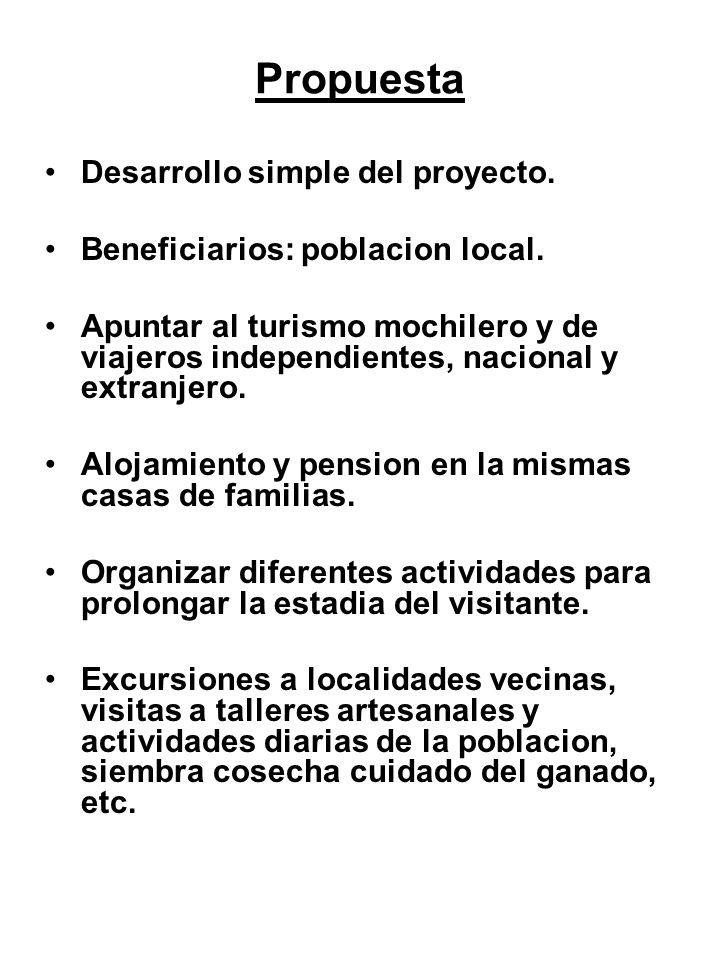 Propuesta Desarrollo simple del proyecto.Beneficiarios: poblacion local.