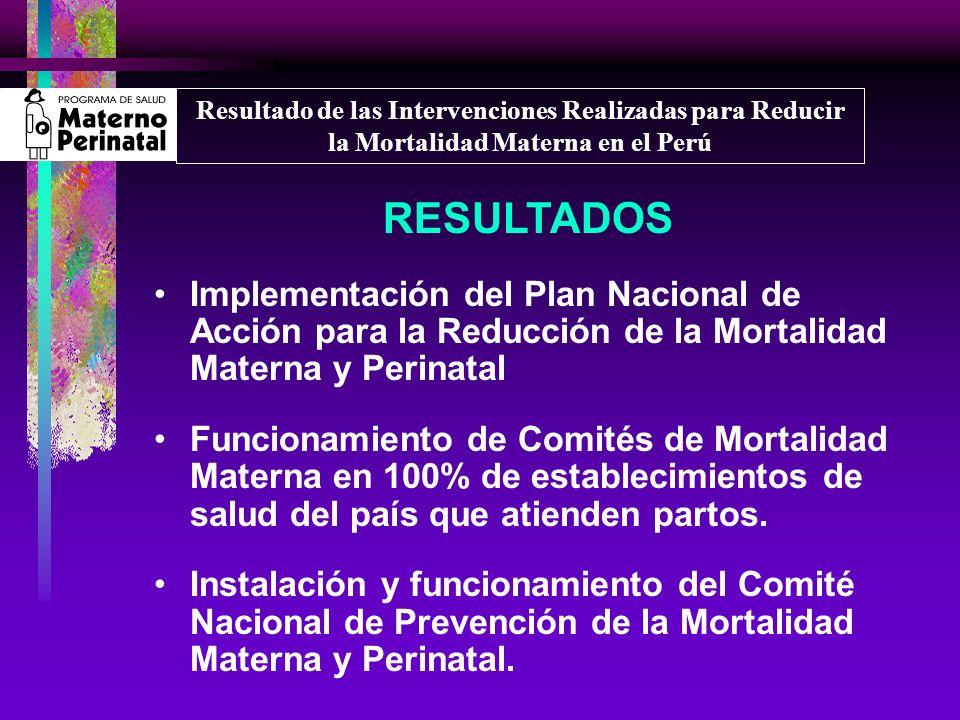 RESULTADOS Implementación del Plan Nacional de Acción para la Reducción de la Mortalidad Materna y Perinatal Funcionamiento de Comités de Mortalidad M