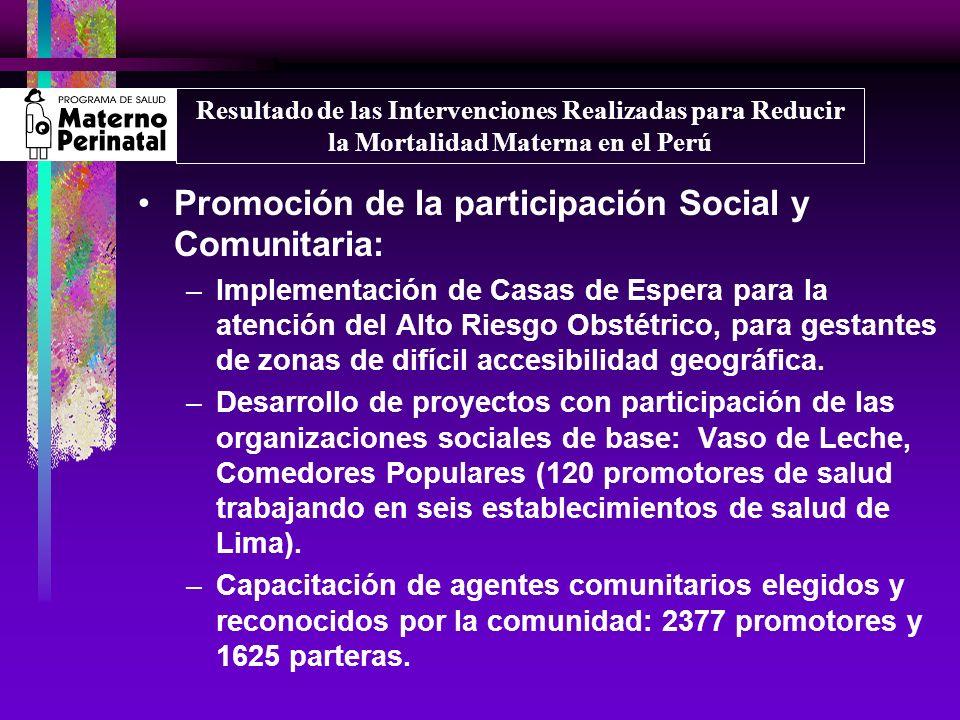 Promoción de la participación Social y Comunitaria: –Implementación de Casas de Espera para la atención del Alto Riesgo Obstétrico, para gestantes de