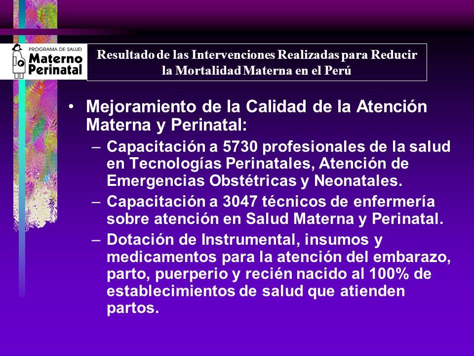 Mejoramiento de la Calidad de la Atención Materna y Perinatal: –Capacitación a 5730 profesionales de la salud en Tecnologías Perinatales, Atención de