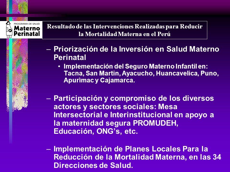 –Priorización de la Inversión en Salud Materno Perinatal Implementación del Seguro Materno Infantil en: Tacna, San Martin, Ayacucho, Huancavelica, Pun