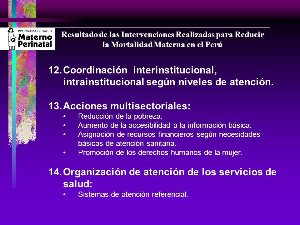 12.Coordinación interinstitucional, intrainstitucional según niveles de atención. 13.Acciones multisectoriales: Reducción de la pobreza. Aumento de la
