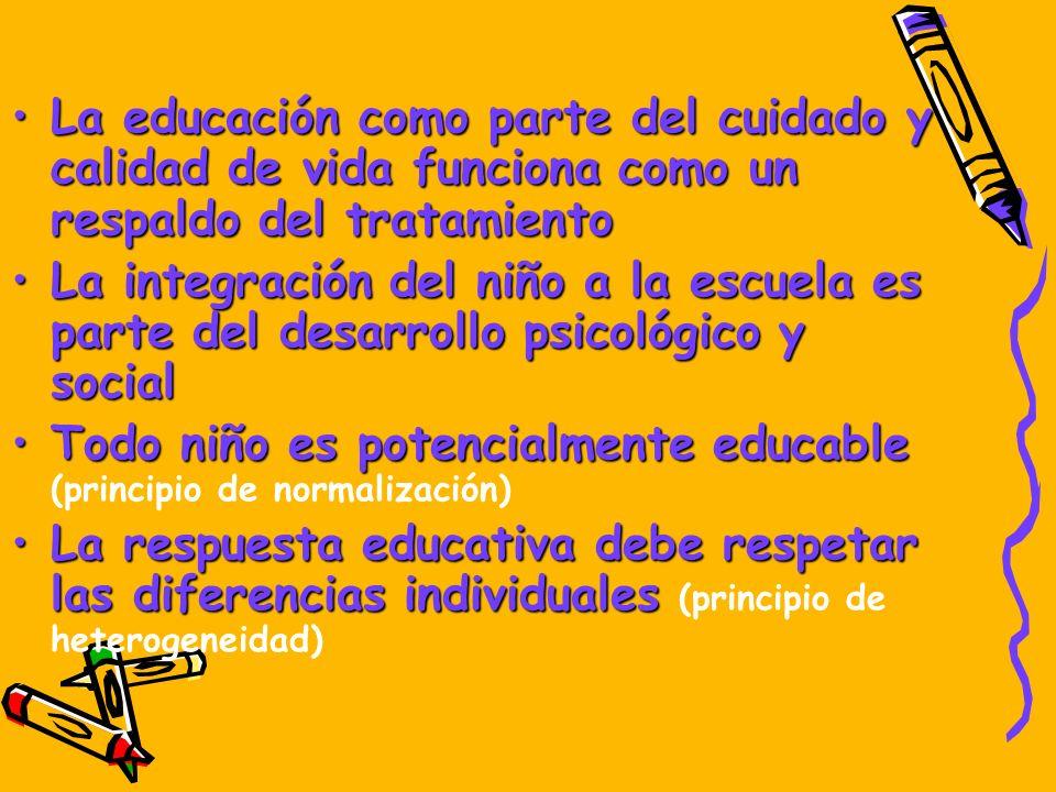 La educación como parte del cuidado y calidad de vida funciona como un respaldo del tratamientoLa educación como parte del cuidado y calidad de vida f