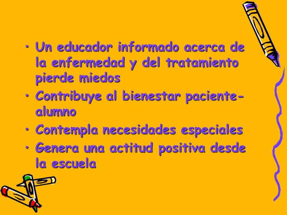Un educador informado acerca de la enfermedad y del tratamiento pierde miedosUn educador informado acerca de la enfermedad y del tratamiento pierde mi