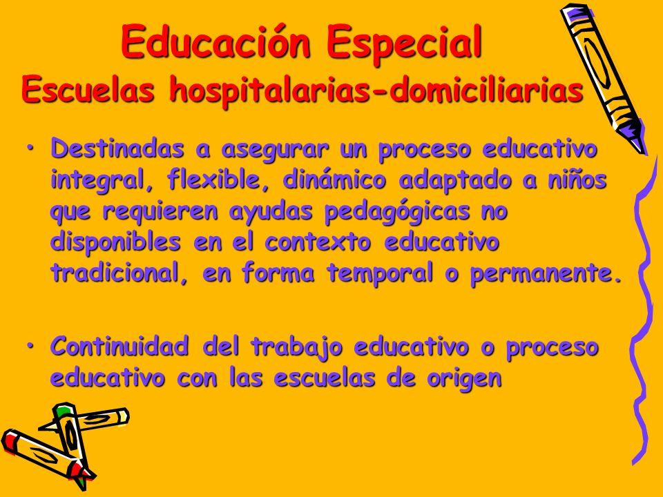 Educación Especial Escuelas hospitalarias-domiciliarias Destinadas a asegurar un proceso educativo integral, flexible, dinámico adaptado a niños que r