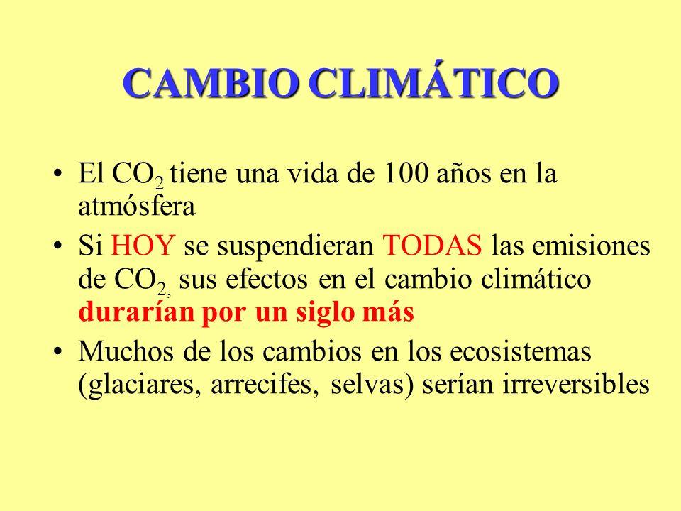 CAMBIO CLIMÁTICO El CO 2 tiene una vida de 100 años en la atmósfera Si HOY se suspendieran TODAS las emisiones de CO 2, sus efectos en el cambio climático durarían por un siglo más Muchos de los cambios en los ecosistemas (glaciares, arrecifes, selvas) serían irreversibles