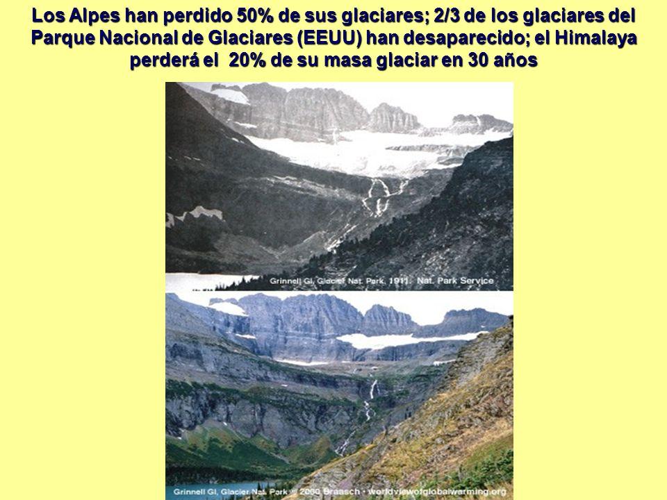 Los Alpes han perdido 50% de sus glaciares; 2/3 de los glaciares del Parque Nacional de Glaciares (EEUU) han desaparecido; el Himalaya perderá el 20% de su masa glaciar en 30 años