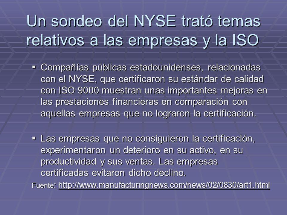 Un sondeo del NYSE trató temas relativos a las empresas y la ISO Compañías públicas estadounidenses, relacionadas con el NYSE, que certificaron su estándar de calidad con ISO 9000 muestran unas importantes mejoras en las prestaciones financieras en comparación con aquellas empresas que no lograron la certificación.