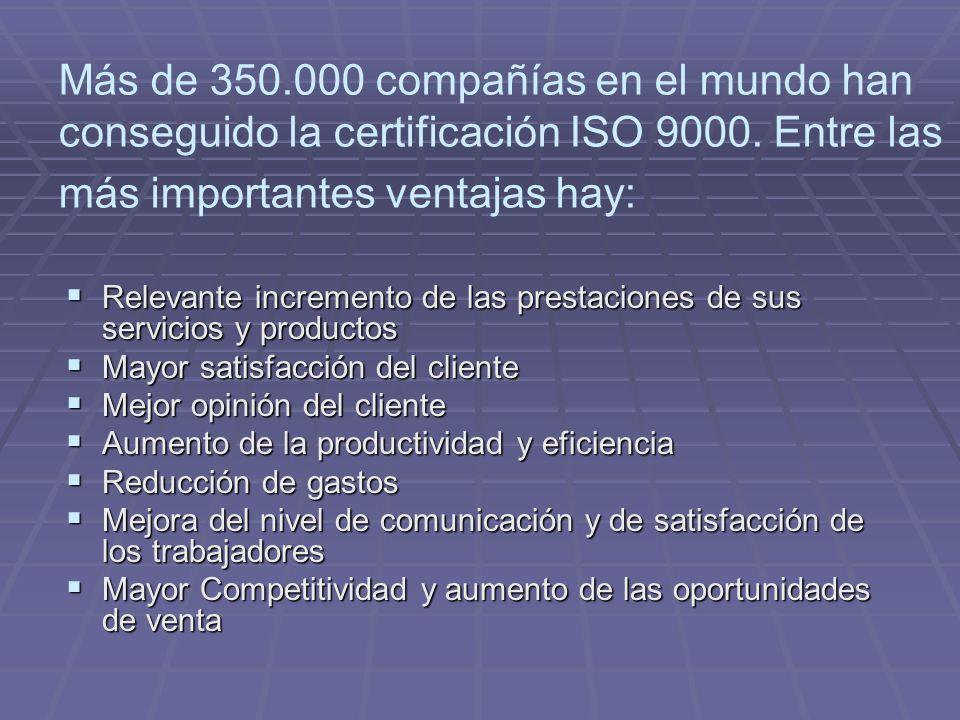 Más de 350.000 compañías en el mundo han conseguido la certificación ISO 9000.