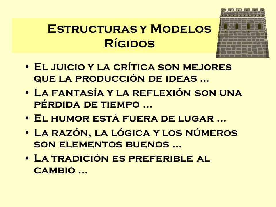 Estructuras y Modelos Rígidos El juicio y la crítica son mejores que la producción de ideas … La fantasía y la reflexión son una pérdida de tiempo … E