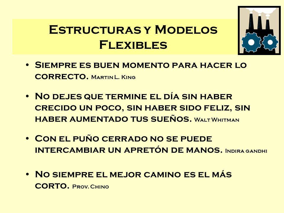Estructuras y Modelos Flexibles Siempre es buen momento para hacer lo correcto. Martin L. King No dejes que termine el día sin haber crecido un poco,