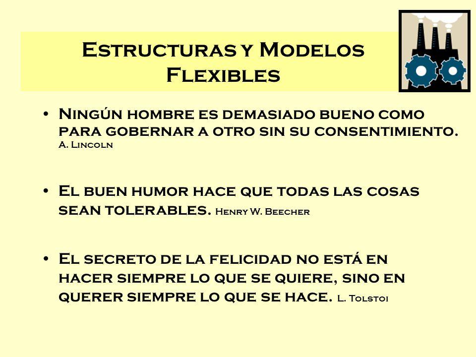 Estructuras y Modelos Flexibles Ningún hombre es demasiado bueno como para gobernar a otro sin su consentimiento. A. Lincoln El buen humor hace que to
