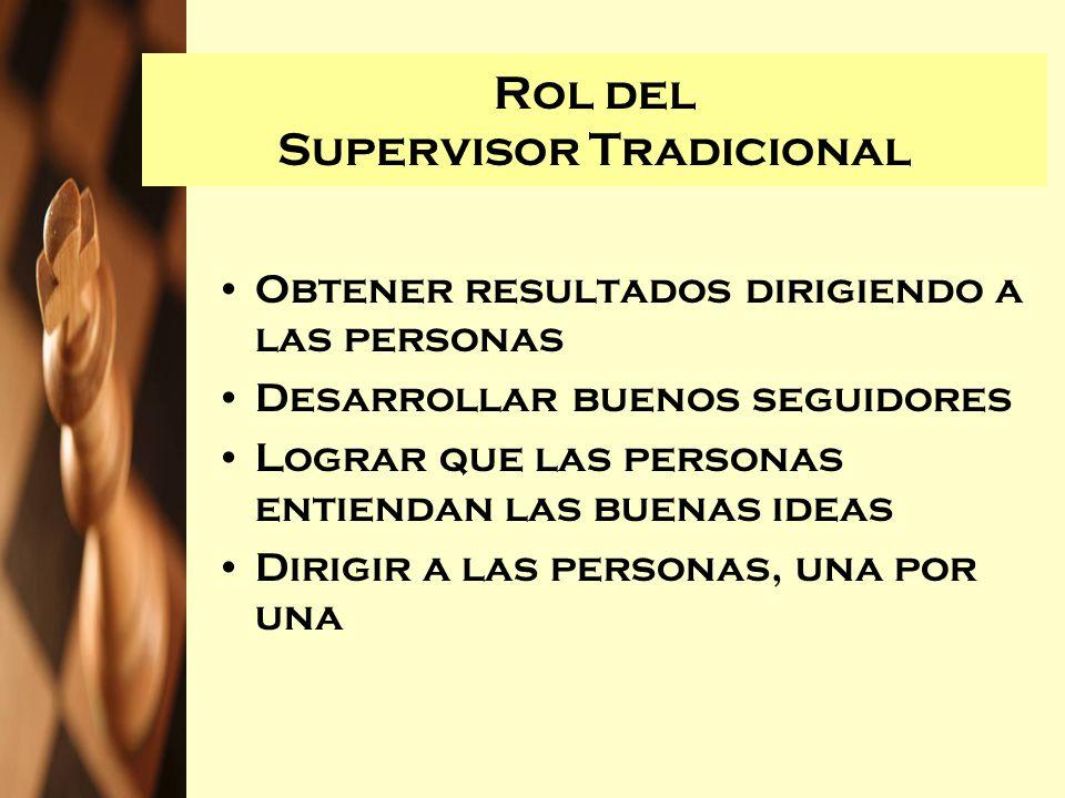 Rol del Supervisor Tradicional Obtener resultados dirigiendo a las personas Desarrollar buenos seguidores Lograr que las personas entiendan las buenas