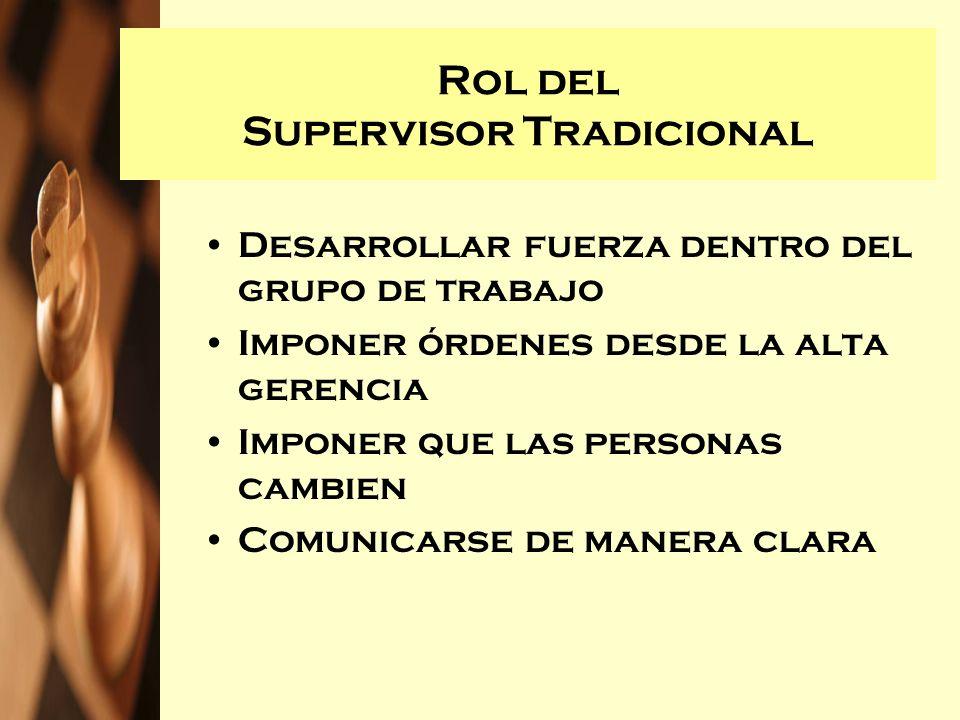 Rol del Supervisor Tradicional Desarrollar fuerza dentro del grupo de trabajo Imponer órdenes desde la alta gerencia Imponer que las personas cambien