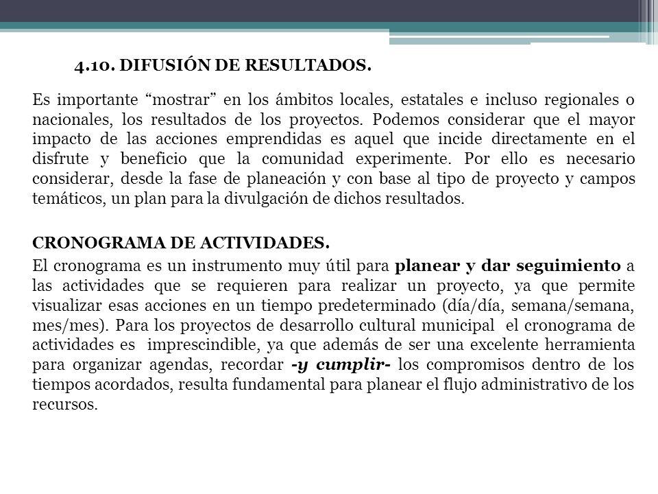 4.11.4.10. DIFUSIÓN DE RESULTADOS.