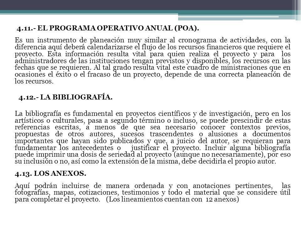 4.11.- EL PROGRAMA OPERATIVO ANUAL (POA).