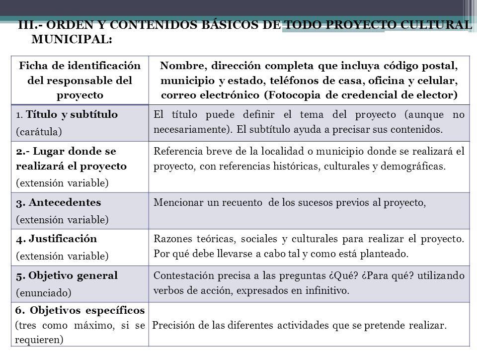 III.- ORDEN Y CONTENIDOS BÁSICOS DE TODO PROYECTO CULTURAL MUNICIPAL: Ficha de identificación del responsable del proyecto Nombre, dirección completa