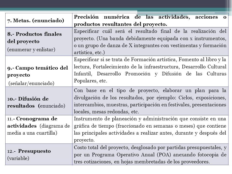 7. Metas. (enunciado) Precisión numérica de las actividades, acciones o productos resultantes del proyecto. 8.- Productos finales del proyecto (enumer