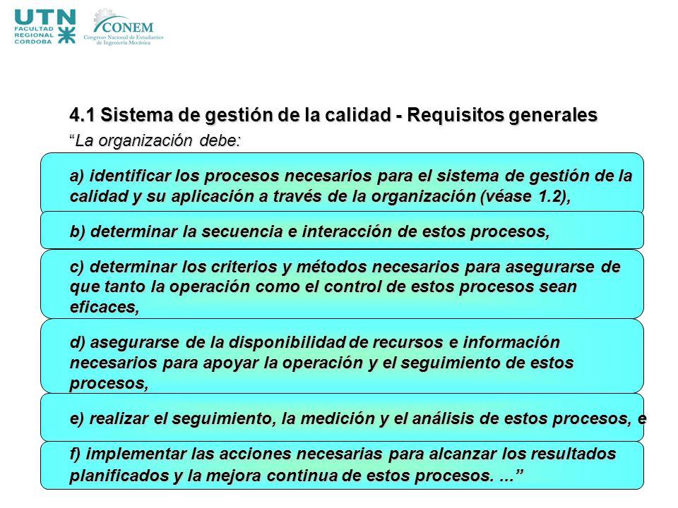 4.1 Sistema de gestión de la calidad - Requisitos generales La organización debe:La organización debe: a) identificar los procesos necesarios para el