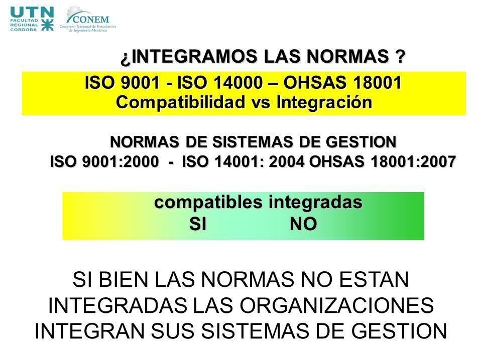 ISO 9001 - ISO 14000 – OHSAS 18001 Compatibilidad vs Integración NORMAS DE SISTEMAS DE GESTION ISO 9001:2000 - ISO 14001: 2004 OHSAS 18001:2007 compat
