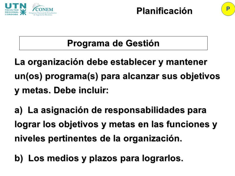 Programa de Gestión P Planificación La organización debe establecer y mantener un(os) programa(s) para alcanzar sus objetivos y metas. Debe incluir: a