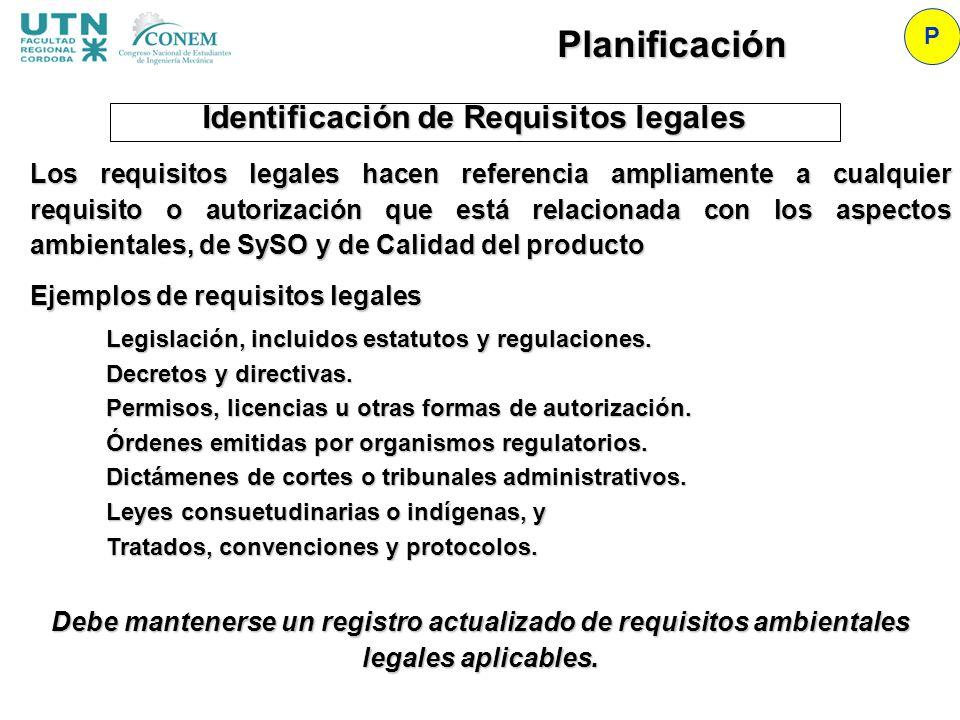 Identificación de Requisitos legales P Planificación Los requisitos legales hacen referencia ampliamente a cualquier requisito o autorización que está